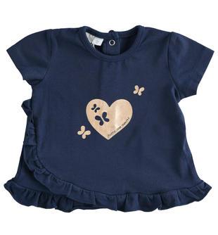 Particolare maglietta con cuore e ruche ido NAVY-3854