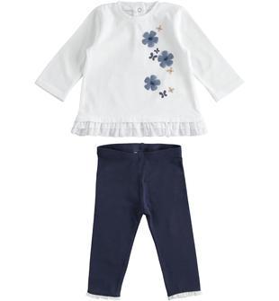 Completo maglia con fiori e farfalle con leggings ido BIANCO-BLU-8020