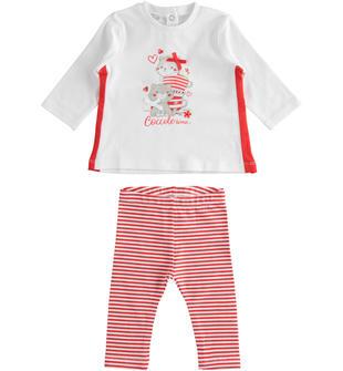 Completo maxi maglia e leggings: Coccole Time ido BIANCO-ROSSO-8025