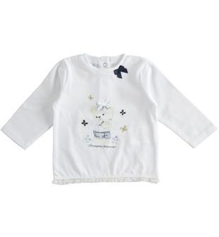 Maglietta girocollo 100% cotone con orsetto ido BIANCO-0113