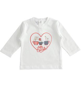 Maglietta girocollo 100% cotone con cuore