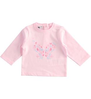 Maglietta girocollo 100% cotone fantasia floreale ido ROSA-2763