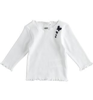 Particolare maglietta in cotone con farfalle ido BIANCO-0113