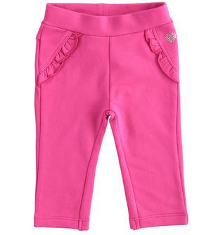 Grazioso pantalone in felpa leggera con ruche ido FUXIA-2445