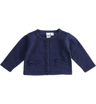 Cardigan in tricot 100% cotone con tasche ido NAVY-3854