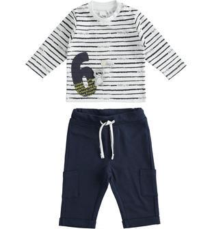 Completo t-shirt e pantalone 100% cotone con numero e orsetto ido BIANCO-BLU-8020