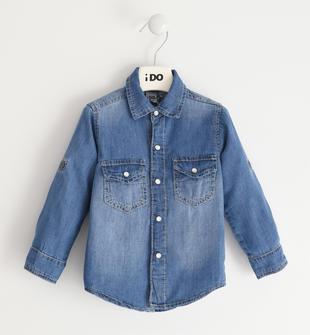 Camicia classica 100% cotone in denim ido STONE WASHED CHIARO-7400