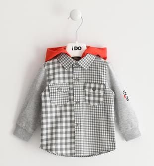 Particolare camicia a quadretti con maniche in felpa ido GRIGIO-0519