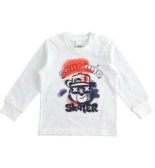 T-shirt girocollo bambino 100% cotone con grafica effetto spruzzato ido BIANCO-0113