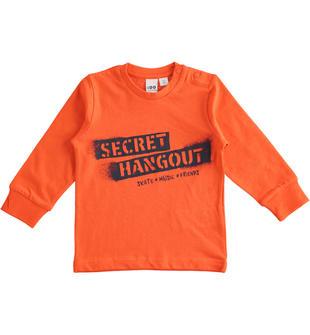 "Maglietta girocollo 100% cotone ""Secret Hangout"" ido ARANCIO-2213"