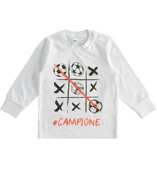 T-shirt bambino 100% cotone con grafica ispirata al mondo del calcio ido BIANCO-0113