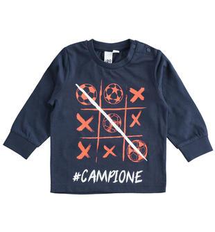 T-shirt bambino 100% cotone con grafica ispirata al mondo del calcio ido NAVY-3885