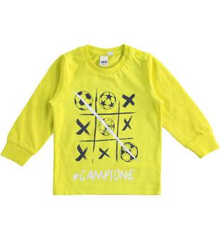 T-shirt bambino 100% cotone con grafica ispirata al mondo del calcio ido VERDE-5243