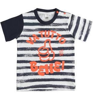 T-shirt 100% cotone con stampa effetto righe spennellate ido BIANCO-BLU-6MG4