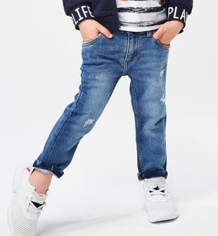 Pantalone in felpa effetto denim ido STONE WASHED CHIARO-7400