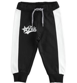 Colorato pantalone lungo in felpa ido NERO-0658