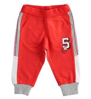 Sportivo e comodo pantalone bambino in felpa 100% cotone ido ROSSO-2235