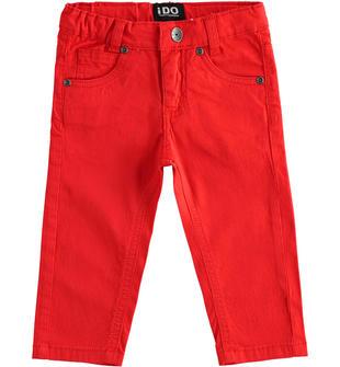 Pantalone bambino modello 5 tasche in twill di cotone ido ROSSO-2235