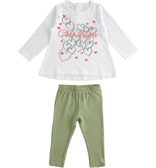 Completo due pezzi bambina in cotone con t-shirt manica lunga ido BIANCO-VERDE-8036