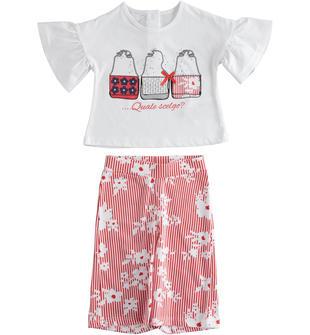 Completo due pezzi bambina 100% cotone con pantalone gaucho ido BIANCO-ROSSO-8025