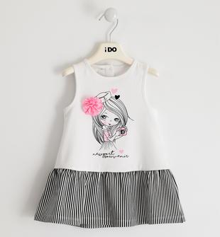 Abito bambina smanicato in jersey di cotone stretch con balza ido BIANCO-0113