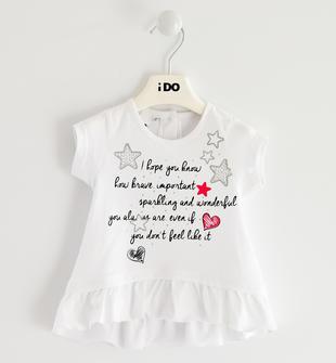 T-shirt con ruche 100% cotone ido BIANCO-0113