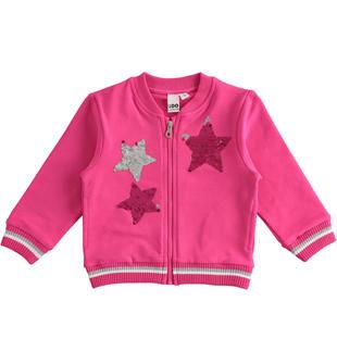 Full zip con stelle di paillettes reversibili ido FUXIA-2445