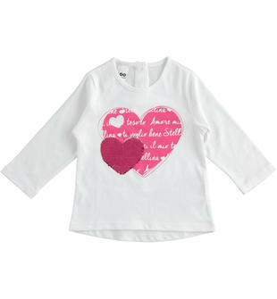 Romantica maglietta con cuori e paillettes ido BIANCO-0113