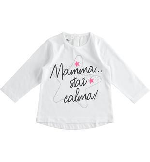 Graziosa t-shirt 100% cotone con grafiche diverse ido BIANCO-0113