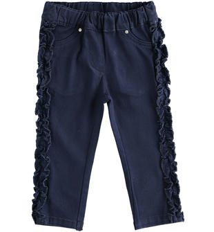 Pantalone in twill stretch con ruche ido NAVY-3854