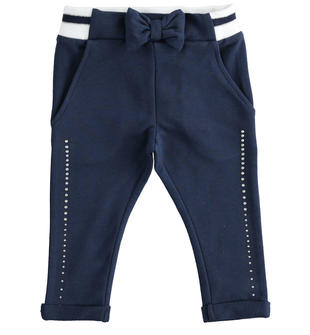 Pantalone in felpa con strass e costina rigata ido NAVY-3854