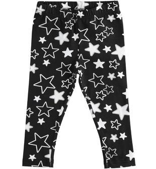 Pratico e comodo leggings bambina in cotone stretch ido NERO-BIANCO-6MH9