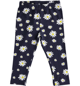 Pratico e comodo leggings bambina in cotone stretch ido BIANCO-BLU-6NA6