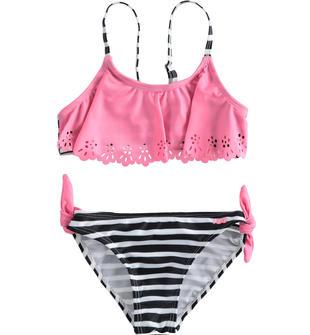 Bikini in lycra stretch con top con balza laserata effetto pizzo ido ROSA-NERO-8328