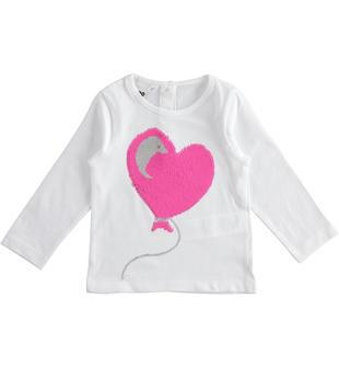 T-shirt bambina 100% cotone con paillettes gira e brilla ido BIANCO-0113