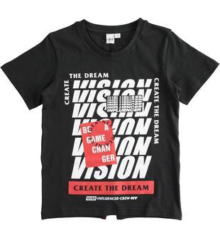 T-shirt bambino 100% cotone con grafica effetto optical ido NERO-0658