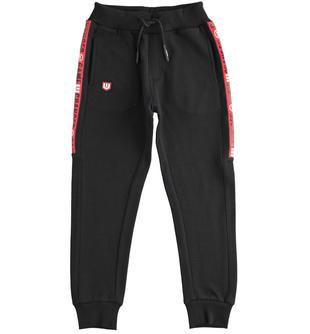 Comodo pantalone bambino in felpa leggera misto cotone ido NERO-0658
