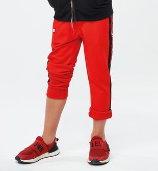 Comodo pantalone bambino in felpa leggera misto cotone ido ROSSO-2235