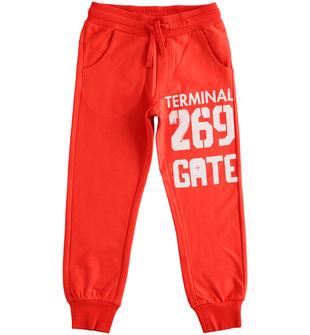Pantalone in felpa con stampa ido ROSSO-2235