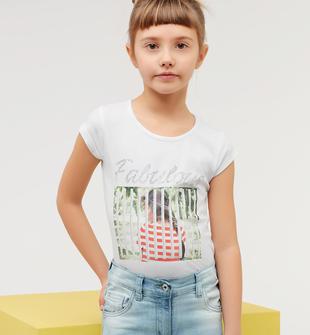 T-shirt in cotone stretch con stampa fotografica ido BIANCO-0113