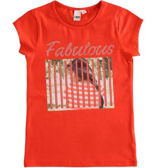 T-shirt in cotone stretch con stampa fotografica ido ROSSO-2235