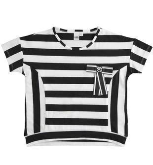 T-shirt mezza manica bambina in cotone gioco di righe orizzontali e verticali ido NERO-0658