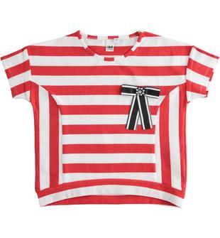 T-shirt mezza manica bambina in cotone gioco di righe orizzontali e verticali ido ROSSO-2235