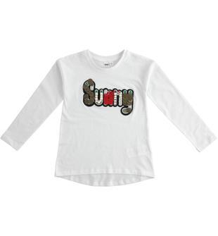 Maglietta 100% cotone con importanti applicazioni ido BIANCO-0113