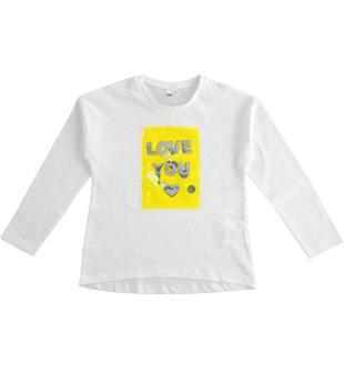 T-shirt 100% cotone con applicazione di tulle e paillettes ido BIANCO-0113
