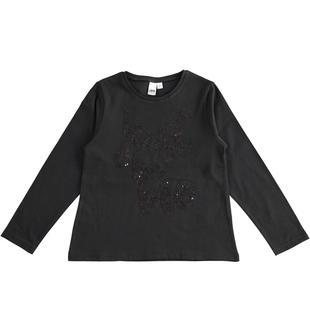 Maglietta girocollo 100% cotone con ricamo paillettes ido NERO-0658