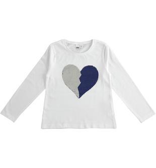 Maglietta a manica lunga con cuore di paillettes reversibili ido BIANCO-0113