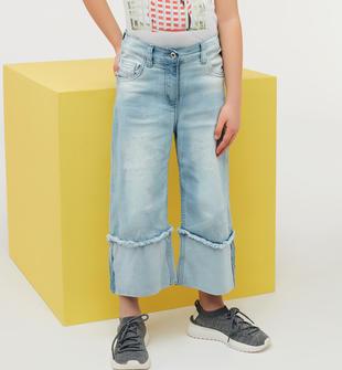 Pantalone denim bambina in cotone stretch ido BLU CHIARO LAVATO-7310