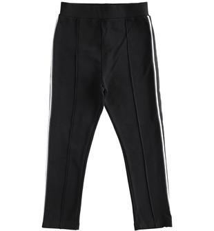 Pantalone bambina in felpa di cotone stretch ido NERO-0658