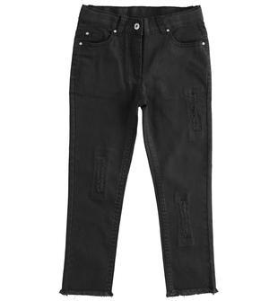 Pantalone lungo in twill con rotture ido NERO-0658